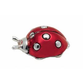 Silver Covered Ladybug with enamel