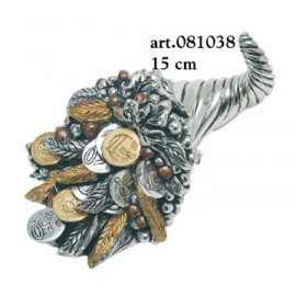 Horn of Plenty with money Coated Silver